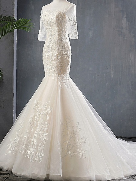 Mermaid \ Trumpet Wedding Dresses Jewel Neck Sweep \ Brush Train Polyester Half Sleeve_3