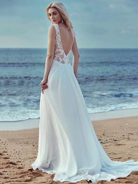 A-Line Wedding Dresses V Neck Sweep \ Brush Train Chiffon Lace Regular Straps Cutouts_2