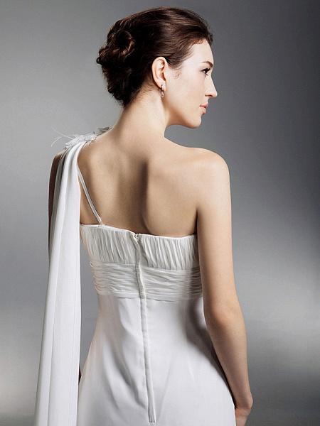 Sheath \ Column Wedding Dresses One Shoulder Watteau Train Chiffon Sleeveless_8