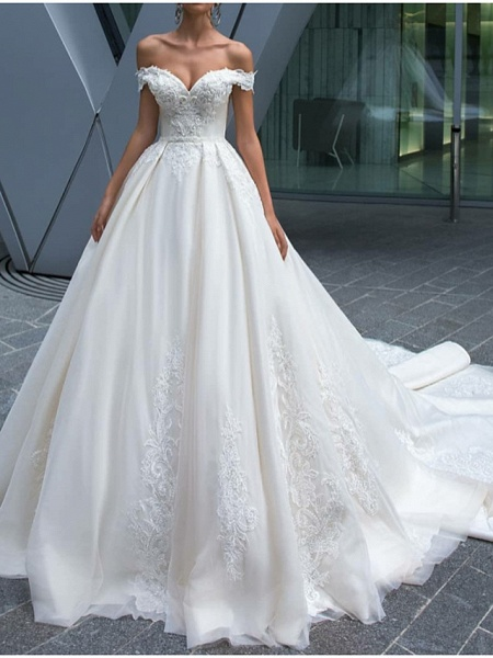 A-Line Wedding Dresses Off Shoulder Court Train Polyester Short Sleeve Country Glamorous Illusion Detail_1