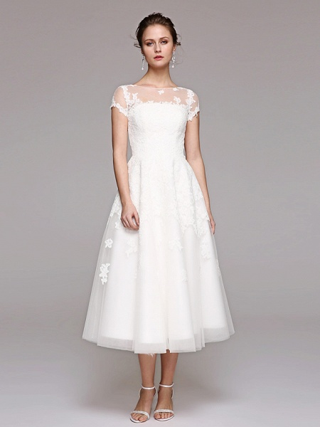Ball Gown Wedding Dresses Bateau Neck Tea Length Lace Over Tulle Short Sleeve Formal Casual Illusion Detail Cute_7