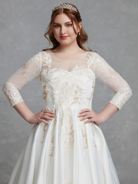 A-Line Wedding Dresses Scoop Neck Court Train Lace Satin Long Sleeve Romantic Glamorous See-Through Illusion Sleeve_6