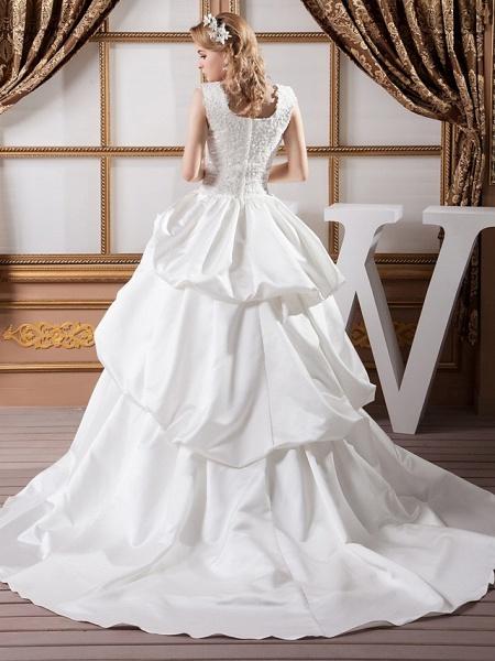 A-Line Square Neck Court Train Lace Satin Regular Straps Wedding Dresses_3