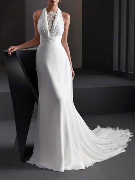 A-Line Wedding Dresses Halter Neck Sweep \ Brush Train Chiffon Sleeveless Country Plus Size_1