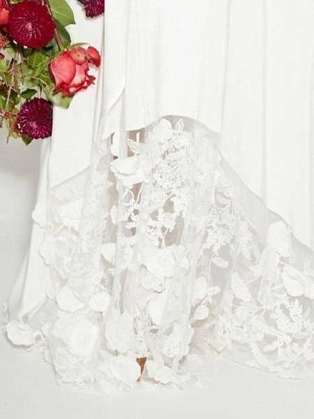 A-Line Plunging Neck Sweep \ Brush Train Polyester Long Sleeve Casual Plus Size Wedding Dresses_3
