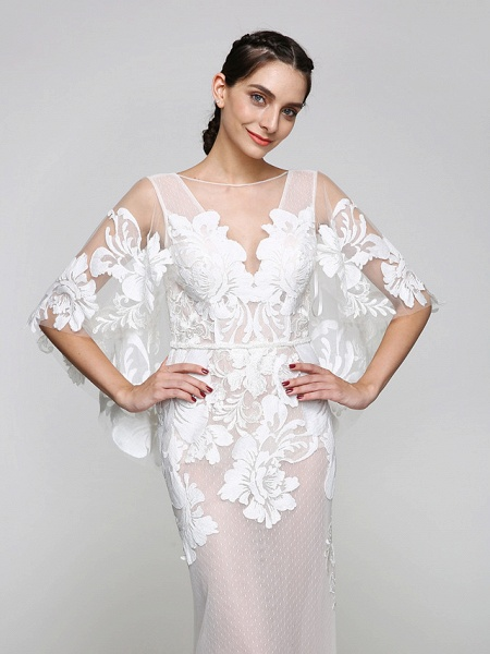 Mermaid \ Trumpet Wedding Dresses V Neck Sweep \ Brush Train Tulle Sheer Lace Lace Over Tulle Half Sleeve Sexy See-Through Illusion Detail Backless_5