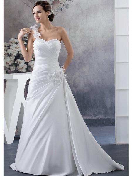 A-Line Wedding Dresses One Shoulder Court Train Satin Spaghetti Strap_1
