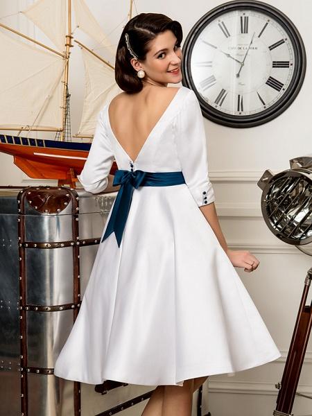 A-Line Wedding Dresses Bateau Neck Knee Length Satin 3\4 Length Sleeve Simple Casual Vintage Plus Size Cute_6
