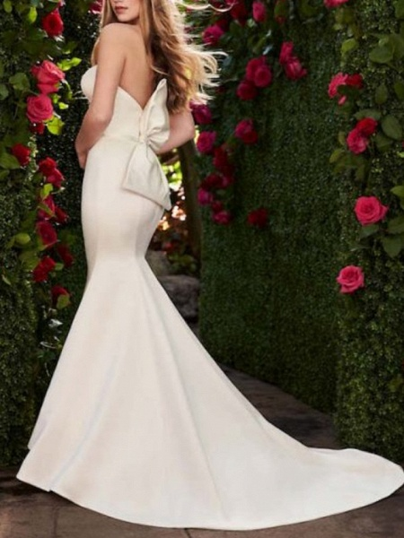 Mermaid \ Trumpet Wedding Dresses Sweetheart Neckline Sweep \ Brush Train Satin Strapless Plus Size_2