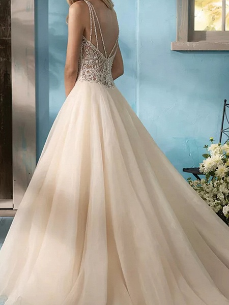 A-Line V Neck Sweep \ Brush Train Lace Tulle Sleeveless Casual Plus Size Wedding Dresses_2