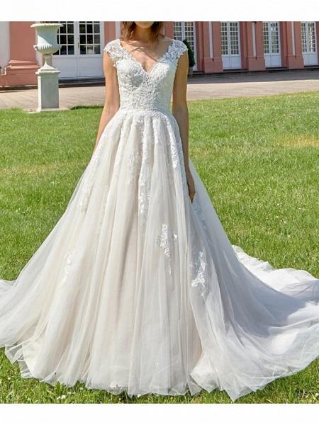 A-Line V Neck Court Train Lace Tulle Polyester Regular Straps Formal Plus Size Wedding Dresses_1