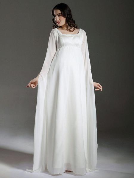 Sheath \ Column Wedding Dresses Square Neck Floor Length Chiffon Satin Long Sleeve See-Through_1