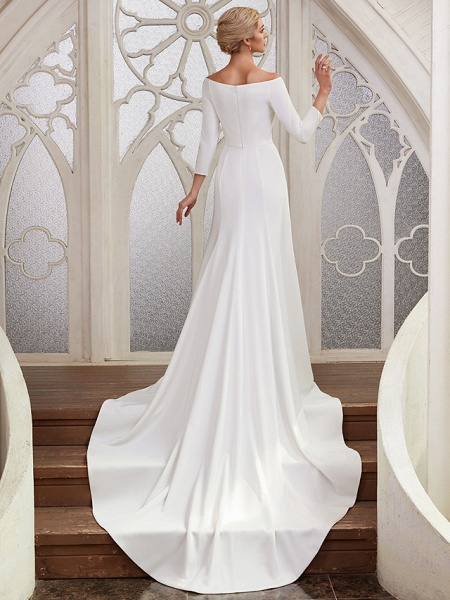 A-Line Wedding Dresses Bateau Neck Chapel Train Satin 3\4 Length Sleeve Elegant_3