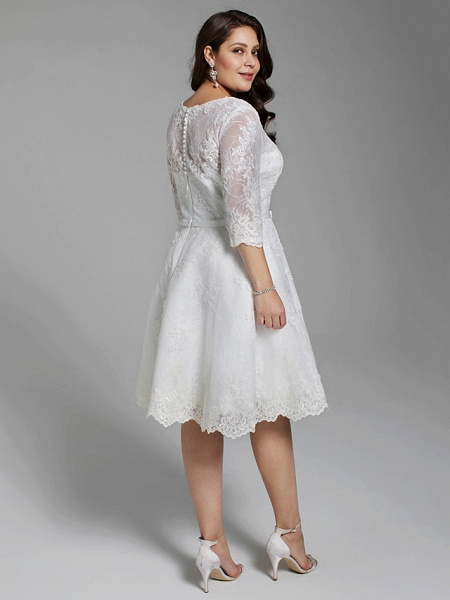 A-Line Wedding Dresses V Neck Knee Length All Over Lace 3\4 Length Sleeve Casual Vintage See-Through Illusion Detail Backless_2