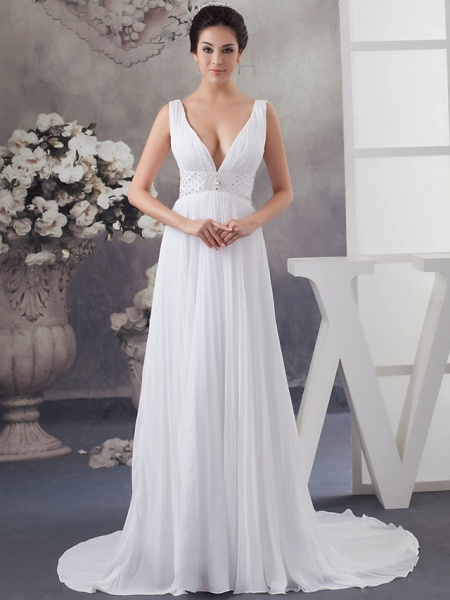 A-Line Wedding Dresses V Neck Chapel Train Chiffon Satin Regular Straps_1