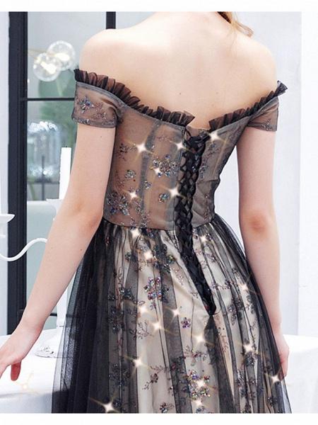 A-Line Wedding Dresses Off Shoulder Floor Length Lace Tulle Regular Straps Formal Black_4