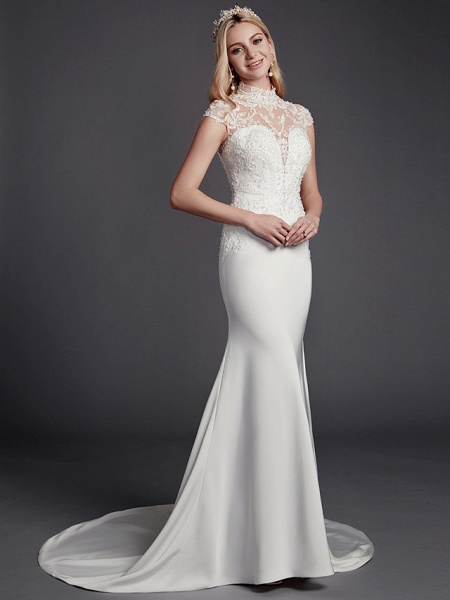 Mermaid \ Trumpet Wedding Dresses High Neck Court Train Lace Satin Sleeveless Sexy See-Through Illusion Detail Backless_3