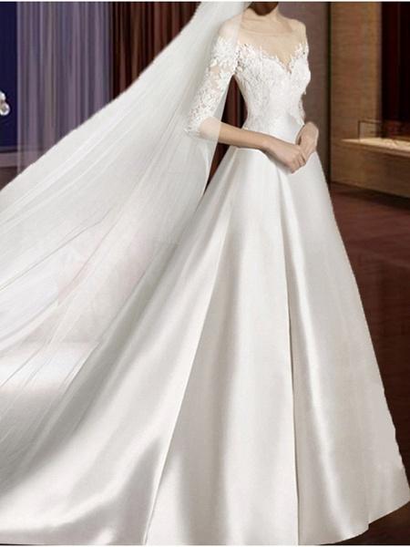 A-Line Wedding Dresses V Neck Court Train Lace Tulle Half Sleeve Formal Vintage Plus Size Illusion Sleeve_1