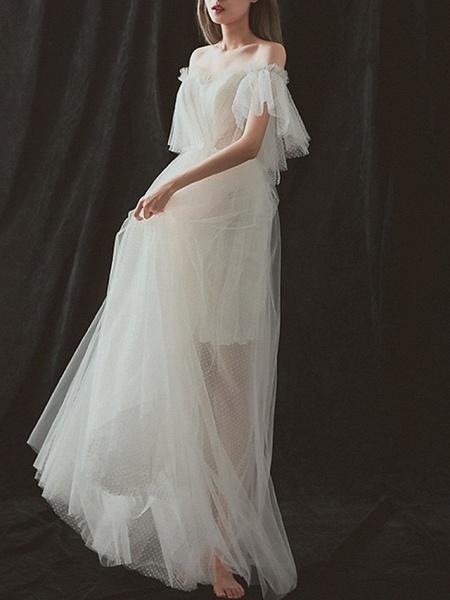 A-Line Wedding Dresses Strapless Floor Length Tulle Short Sleeve Formal_2