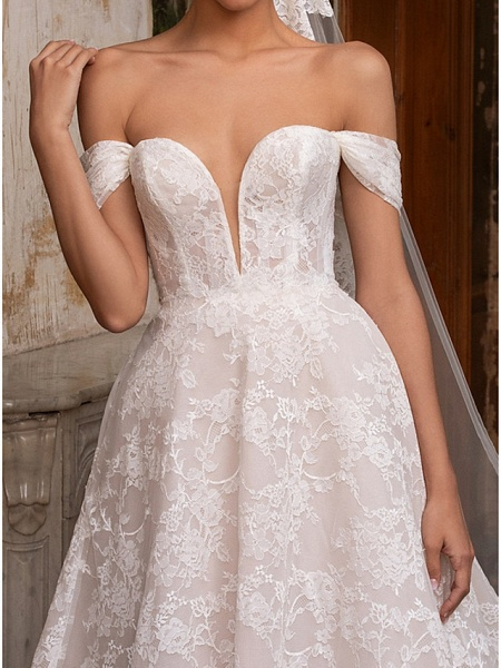 A-Line Wedding Dresses Off Shoulder Sweep \ Brush Train Lace Short Sleeve Plus Size_3