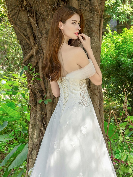 A-Line Wedding Dresses V Neck Court Train Lace Tulle Sleeveless_8