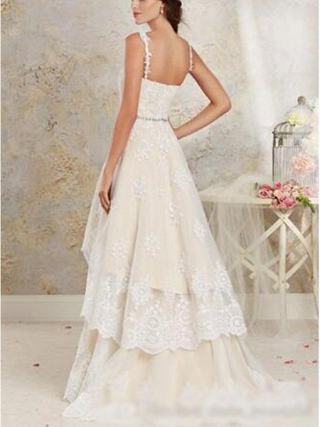 A-Line Wedding Dresses Sweetheart Neckline Sweep \ Brush Train Asymmetrical Lace Tulle Lace Over Satin Spaghetti Strap Cute_2