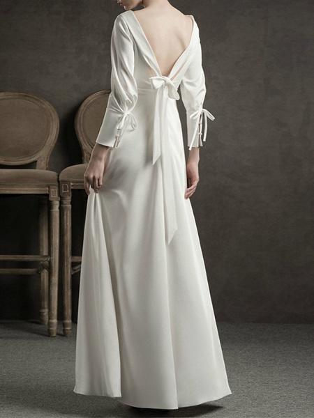 Sheath \ Column Wedding Dresses Jewel Neck Floor Length Satin Long Sleeve Simple Elegant_2