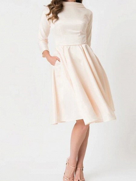 A-Line Wedding Dresses High Neck Knee Length Satin Long Sleeve Casual Little White Dress_1