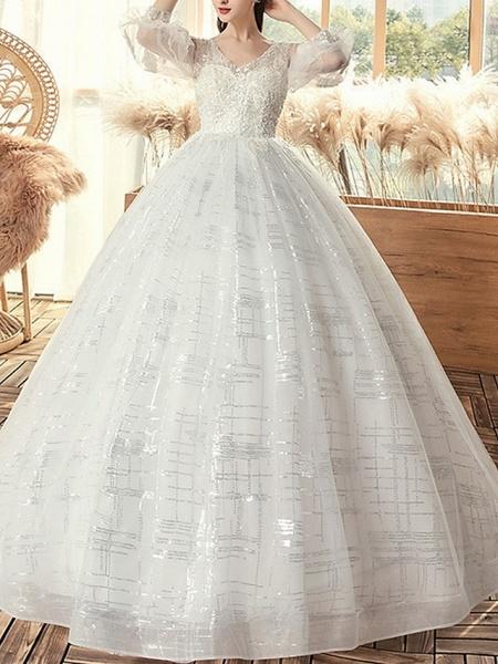 Ball Gown Wedding Dresses V Neck Sweep \ Brush Train Lace 3\4 Length Sleeve Beach_1