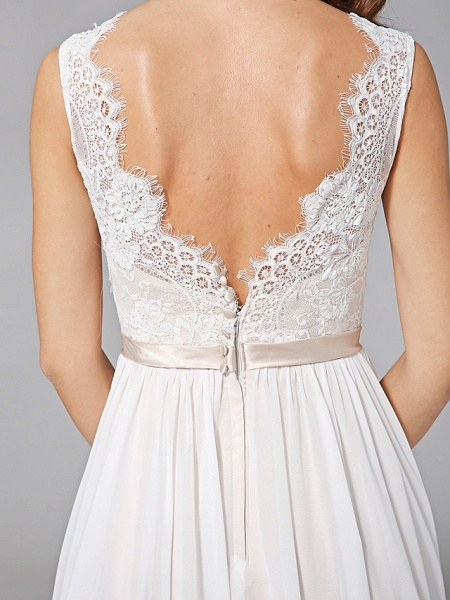 A-Line Wedding Dresses V Neck Court Train Chiffon Lace Regular Straps Romantic See-Through Plus Size Backless_10