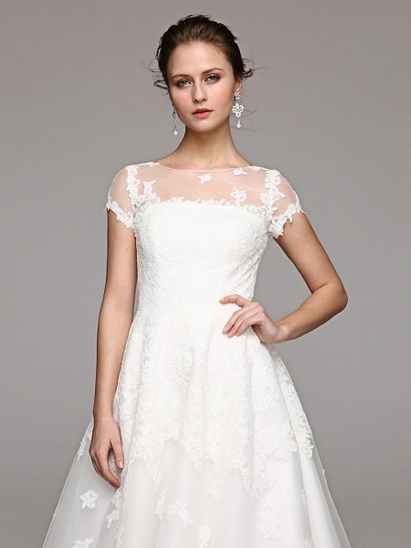 Ball Gown Wedding Dresses Bateau Neck Tea Length Lace Over Tulle Short Sleeve Formal Casual Illusion Detail Cute_9