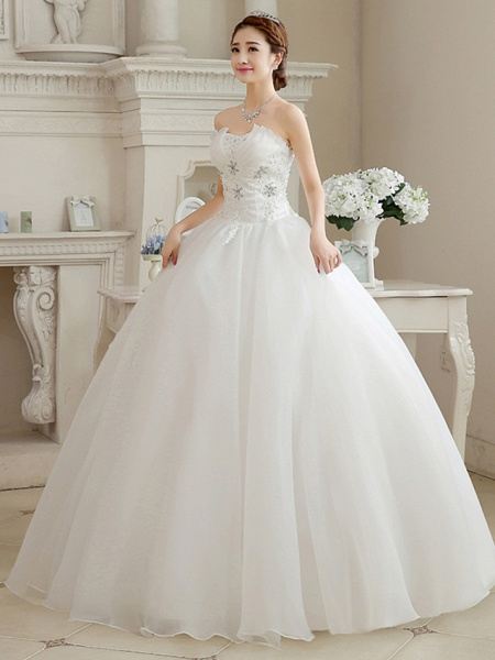 Ball Gown Wedding Dresses Sweetheart Neckline Floor Length Organza Strapless Glamorous Sparkle & Shine_8