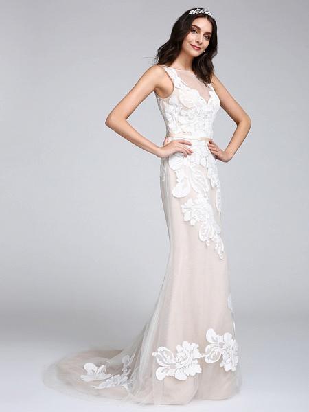 Mermaid \ Trumpet Wedding Dresses Bateau Neck Sweep \ Brush Train Tulle Floral Lace Regular Straps Romantic Boho Sexy See-Through Illusion Detail_4