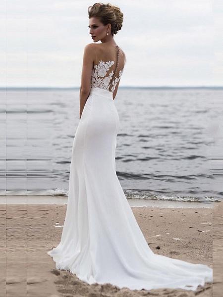 Mermaid \ Trumpet Wedding Dresses Jewel Neck Chapel Train Chiffon Lace Regular Straps Mordern See-Through_2