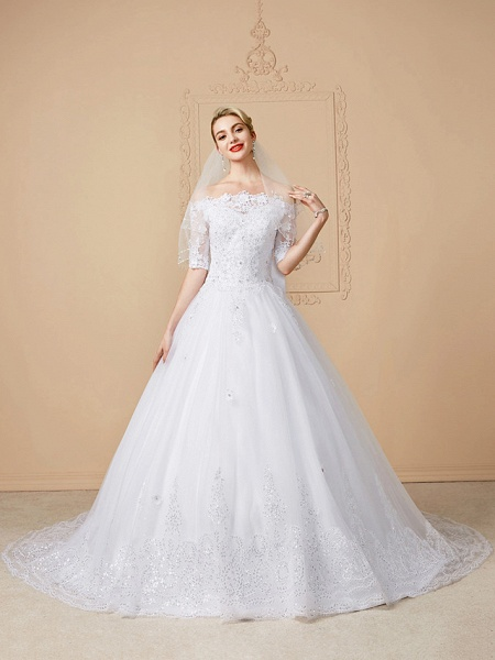 Ball Gown Wedding Dresses Off Shoulder Court Train Lace Tulle Half Sleeve Sparkle & Shine Open Back Cute_1