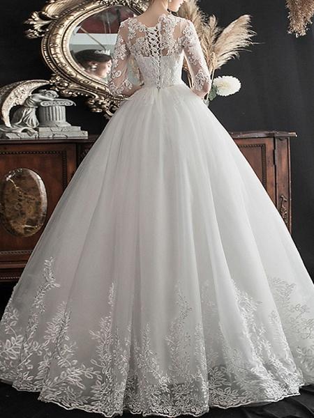 A-Line Wedding Dresses Jewel Neck Sweep \ Brush Train Lace Half Sleeve Glamorous See-Through Illusion Sleeve_5