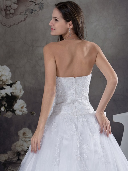 A-Line Strapless Court Train Lace Tulle Strapless Wedding Dresses_5