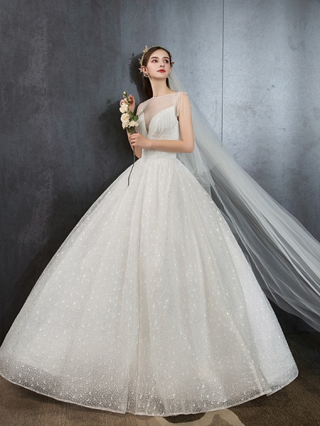 Ball Gown Wedding Dresses V Neck Floor Length Lace Tulle Polyester Sleeveless Formal Romantic Sexy_2