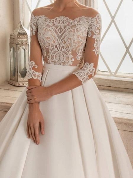 A-Line Wedding Dresses Bateau Neck Sweep \ Brush Train Lace Satin 3\4 Length Sleeve Formal See-Through_2