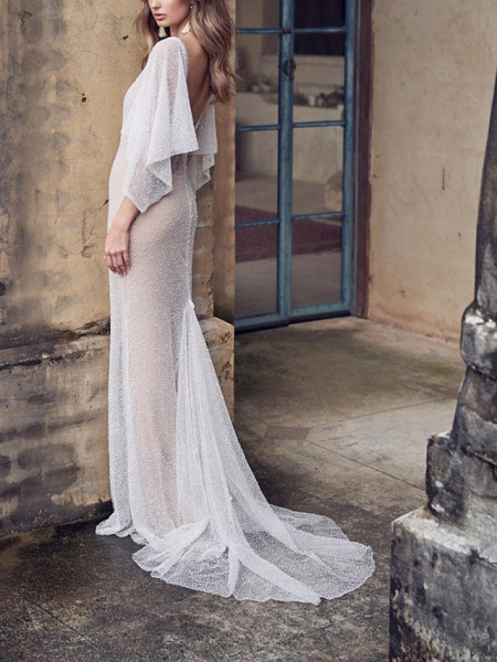 A-Line Wedding Dresses V Neck Court Train Tulle Sleeveless Vintage Sexy Wedding Dress in Color See-Through_7
