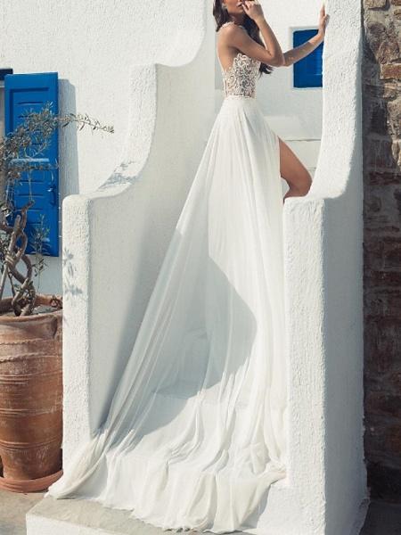 A-Line Wedding Dresses Halter Neck Court Train Lace Chiffon Over Satin Sleeveless Beach Boho Sexy See-Through_4