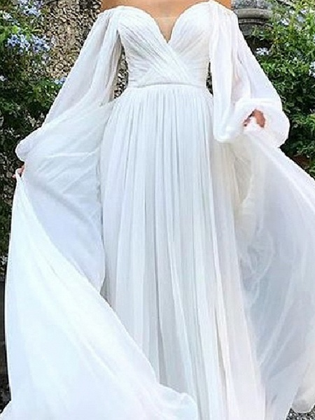 A-Line Wedding Dresses Strapless Sweep \ Brush Train Tulle Polyester Long Sleeve Country Plus Size_2
