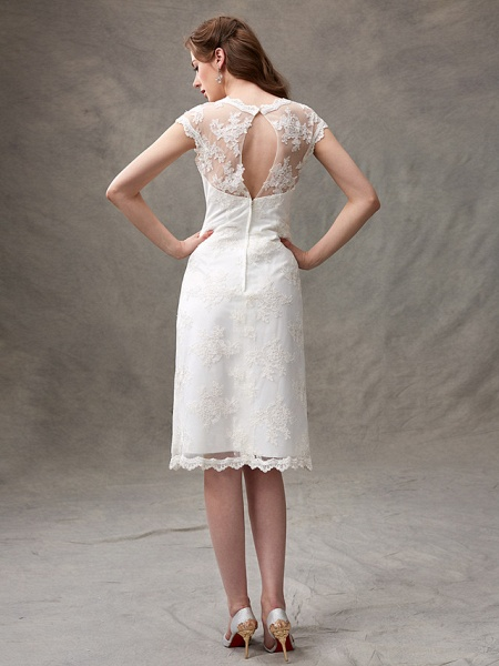 A-Line Wedding Dresses Jewel Neck Knee Length Floral Lace Cap Sleeve Casual See-Through Backless_2