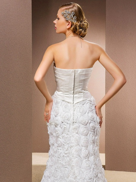 Mermaid \ Trumpet Wedding Dresses Strapless Court Train Lace Over Satin Strapless Sexy Plus Size_6