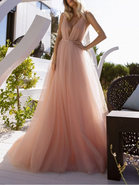 A-Line Wedding Dresses V Neck Court Train Chiffon Sleeveless Beach Sexy Wedding Dress in Color See-Through_1