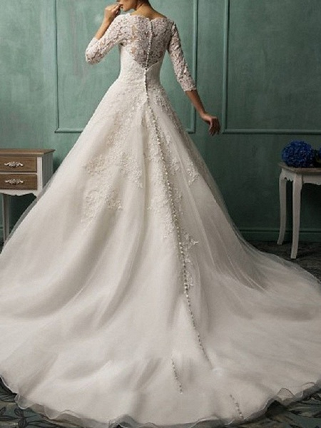 A-Line Wedding Dresses Bateau Neck Court Train Lace 3\4 Length Sleeve Illusion Sleeve_2