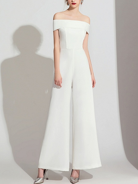 Jumpsuits Wedding Dresses Off Shoulder Floor Length Polyester Cap Sleeve Formal Simple_2