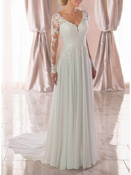 A-Line Wedding Dresses V Neck Sweep \ Brush Train Chiffon Lace Long Sleeve Romantic Illusion Sleeve_3