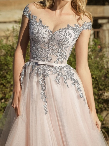 A-Line Wedding Dresses Jewel Neck Sweep \ Brush Train Lace Tulle Short Sleeve Country Plus Size_2