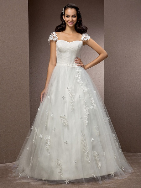 Ball Gown Square Neck Court Train Tulle Short Sleeve Wedding Dresses_1